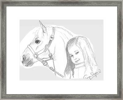 Kiara And Pony Framed Print