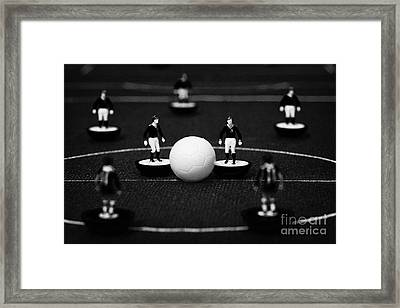 Kick Off Or Restart Football Soccer Scene Reinacted With Subbuteo Table Top Football Players Framed Print by Joe Fox