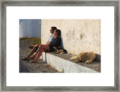 Kicking Back In Greece Framed Print by Bob Christopher