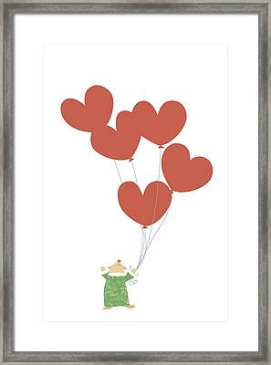 Kid Squirrel Flying And Holding Heart Shaped Balloons Framed Print by Meg Takamura