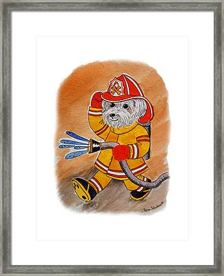 Kids Art Firedog Firefighter  Framed Print