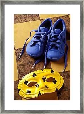 Kids Blue Shoes And Mask Framed Print