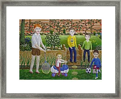 Kids In The Garden Framed Print by Ronald Haber