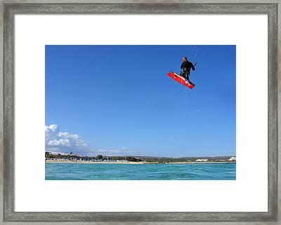 Kiesurfing Framed Print by Stelios Kleanthous