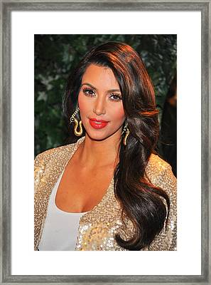 Kim Kardashian At Arrivals For Qvc Red Framed Print
