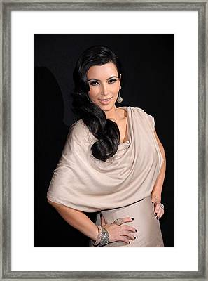 Kim Kardashian Wearing A Victoria Framed Print by Everett