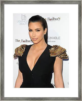 Kim Kardashian Wearing An Alexander Framed Print by Everett