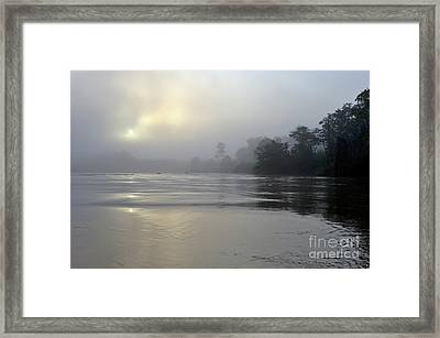 Kinabatangan River At Sunrise Framed Print by Sami Sarkis