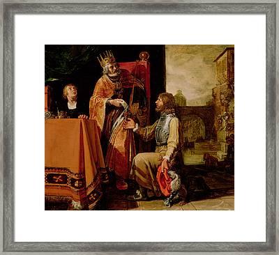 King David Handing The Letter To Uriah Framed Print by Pieter Lastman