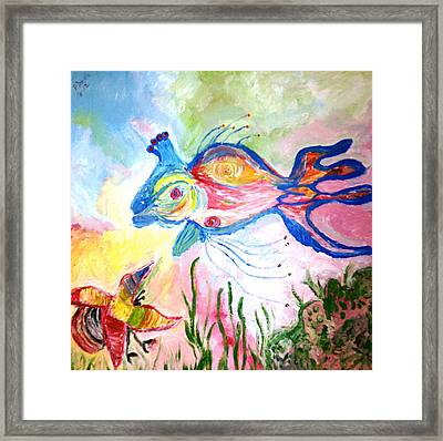 King Fish  And Hermit Crab Framed Print by Pretchill Smith