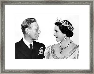 King George Vi And Queen Elizabeth Framed Print by Everett