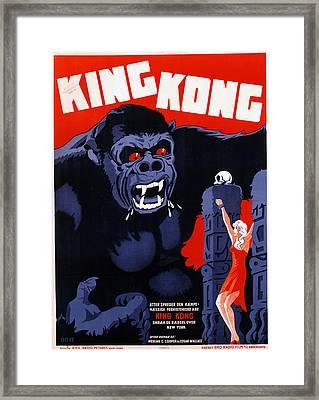 King Kong, Danish Poster Art, 1933 Framed Print by Everett