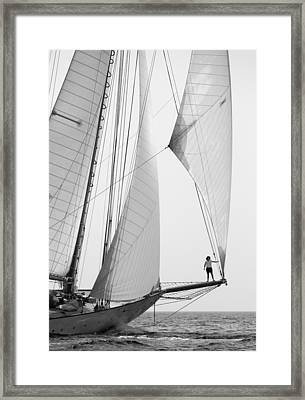 king of the world - a classic sailboat with all sails plying the sea on the island of Menorca Framed Print by Pedro Cardona