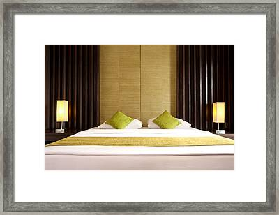 King Size Bed Framed Print by Atiketta Sangasaeng