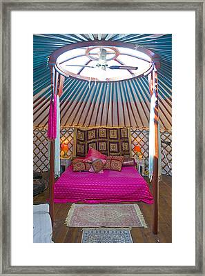 King Size Bed In A Mongolian Yurt Framed Print by Corepics