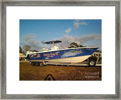 Kingfish Boat Wrap Framed Print by Carey Chen