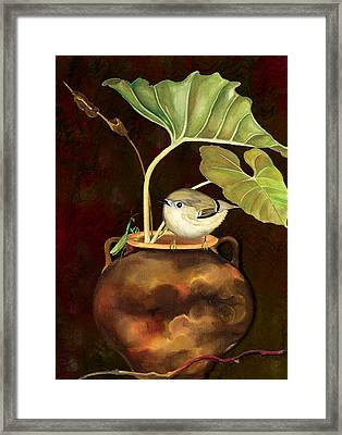 Framed Print featuring the painting Kinglet And Friend by Anne Beverley-Stamps