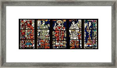 Kings And Holy Men Medieval Stained Glass Collage Framed Print by Lisa Knechtel