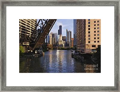 Kinzie St Bridge In Chicago Framed Print