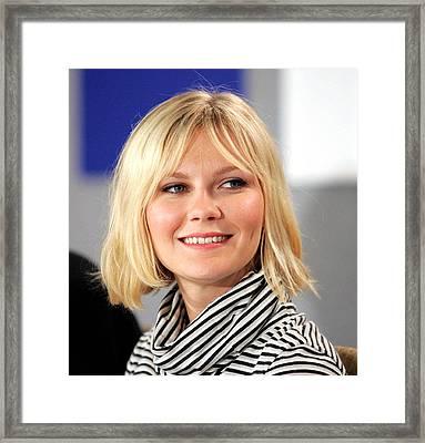 Kirsten Dunst At The Press Conference Framed Print