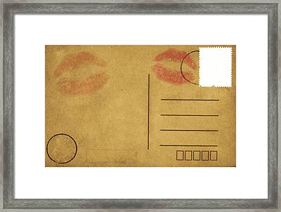Kiss Lips On Postcard Framed Print by Setsiri Silapasuwanchai