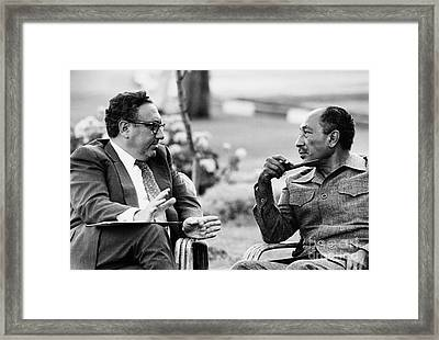 Kissinger And Sadat, 1975 Framed Print by Granger