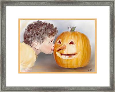 Framed Print featuring the painting Kissy Face by Bonnie Willis