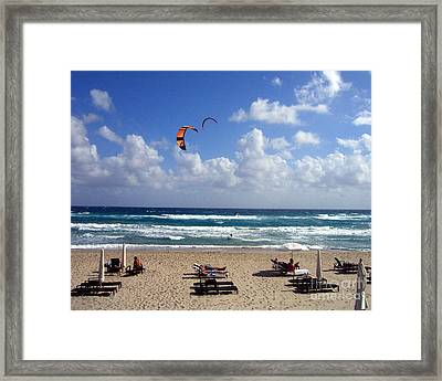 Kite Boarding In Boca Raton Florida Framed Print by Merton Allen
