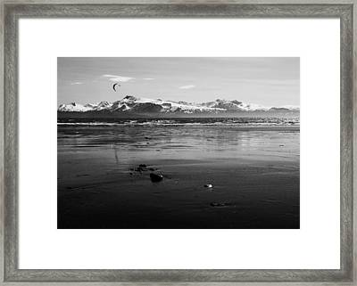 Kite Surfer On An Alaskan Beach Framed Print
