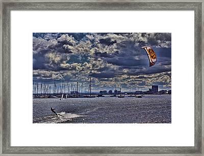 Kite Surfing At St Kilda Beach Framed Print by Douglas Barnard