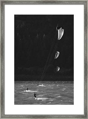 Kiteboarders In The Columbia River Framed Print by Skip Brown