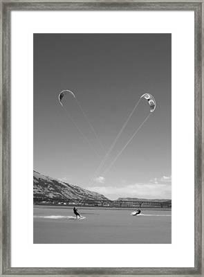 Kiteboarding Symmetry Framed Print by Skip Brown