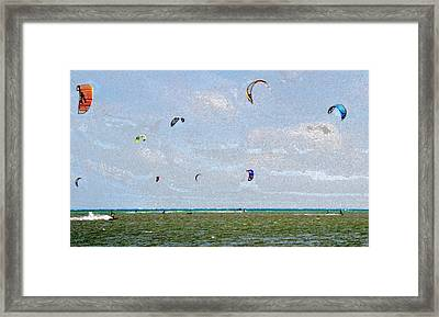 Kites Over The Bay Framed Print by David Lee Thompson