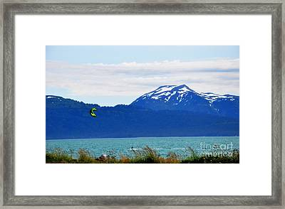 Kitesurfing In Alaska Framed Print by Tanya  Searcy