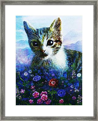 Framed Print featuring the mixed media Kitten by Hartmut Jager