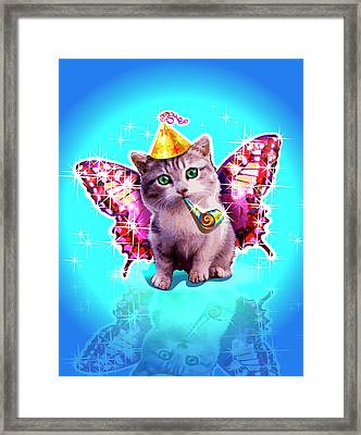 Kitten With Party Horn Blower, Party Hat And Wings Framed Print