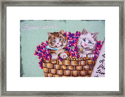 Kittens In A Basket Framed Print by Chet King