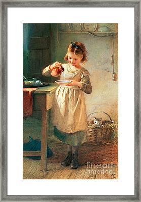 Kitty's Breakfast Framed Print by Farmer Emily