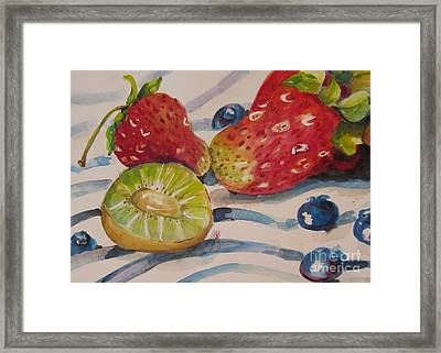 Kiwi And Berries Framed Print by Delilah  Smith
