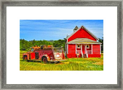 Klamath Old Fire Truck And Red School House Framed Print