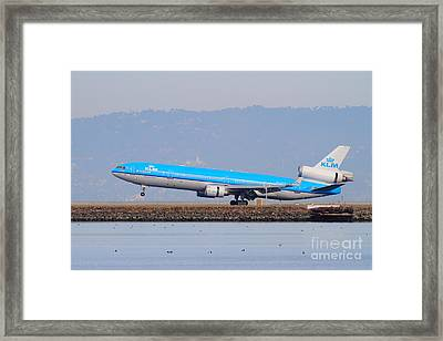Klm Royal Dutch Airlines Jet Airplane At San Francisco International Airport Sfo . 7d12157 Framed Print by Wingsdomain Art and Photography