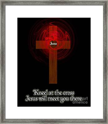 Kneel At The Cross Framed Print by Methune Hively