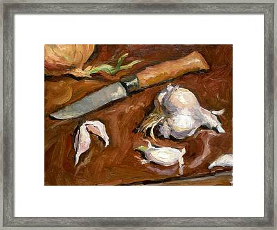 Knife And Garlic Framed Print by Thor Wickstrom