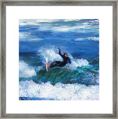 Knifing Through The Surf Framed Print by David Lane
