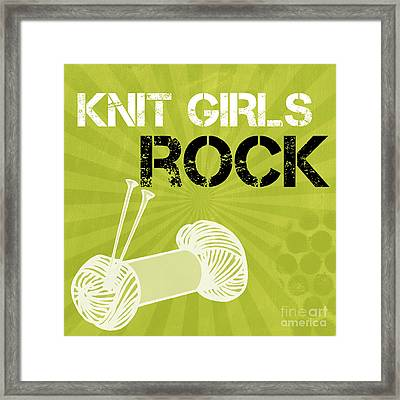 Knit Girls Rock Framed Print by Linda Woods