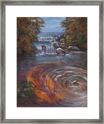 Framed Print featuring the painting Koi Feeding by Pauline  Kretler