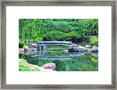 Koi Pond Pondering - Japanese Garden Framed Print by Bill Cannon