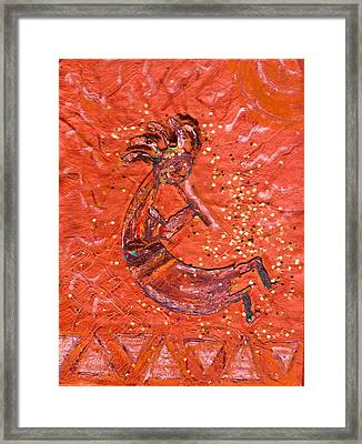 Kokopelli Bright Framed Print by Anne-Elizabeth Whiteway
