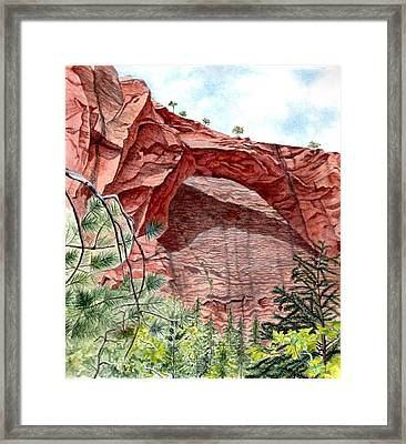 Kolob Canyon Arch Framed Print by Inger Hutton