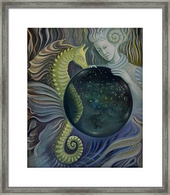Framed Print featuring the painting Konkyliekvinnen by Tone Aanderaa
